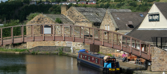 a barge on a canal in Huddersfield