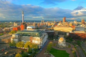 Aerial view of Birmingham, UK