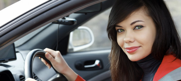 beautiful girl inside the car