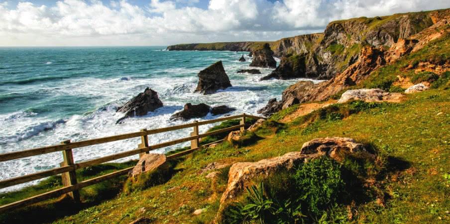 Bedruthan Steps Rocks in Cornwall, England