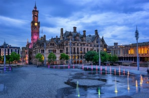 Bradford City Hall in City Park, West Yorkshire