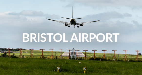 airplane landing over Bristol Airport