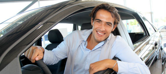 business man inside a car hire