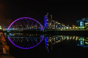 Clyde Arc bridge in Glasgow, UK at night