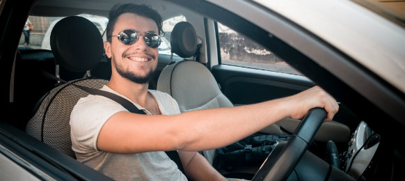 happy guy ready to drive his new car