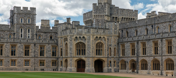 courtyard garden and buildings of windsor castle near london, england