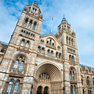 facade of Natural History Museum London, UK