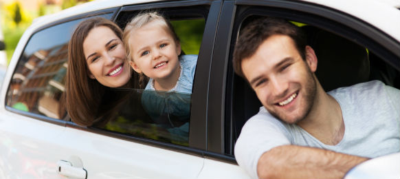 family inside a car hire