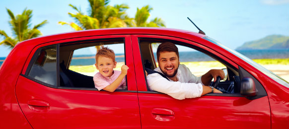 father and son in a car hire