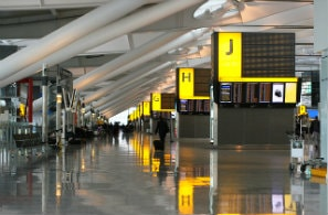 Heathrow airport interior view, UK