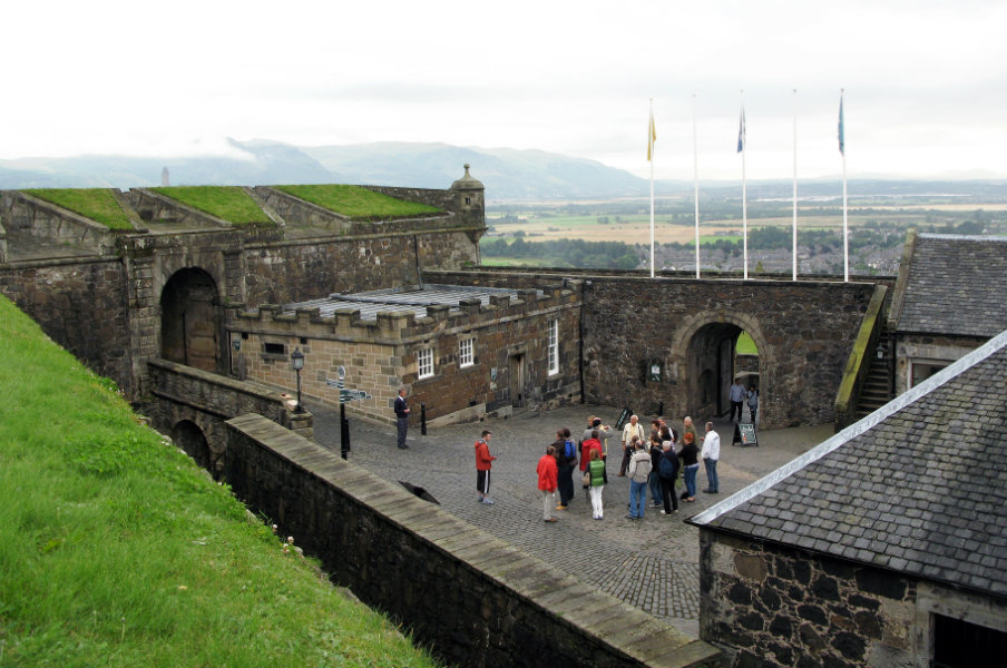 tourists inside the stirling castle
