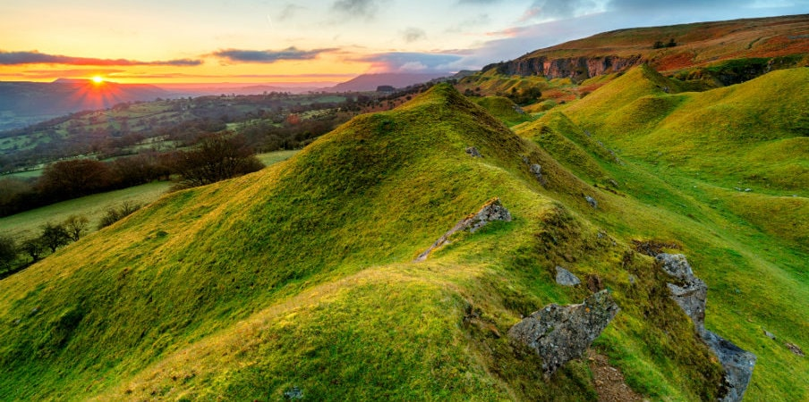 Llangattock Escarpment in the Breacon Beacons, Wales