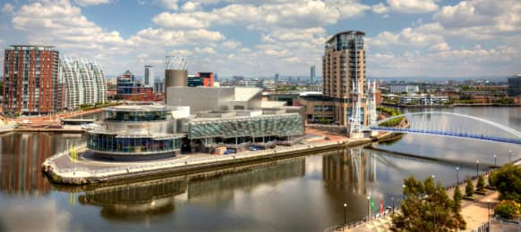 view of Manchester from Salford Quays