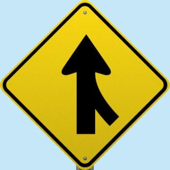 merging traffic warning sign