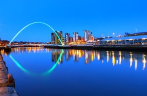 Millenium bridge over Tyne river in Newcastle, UK