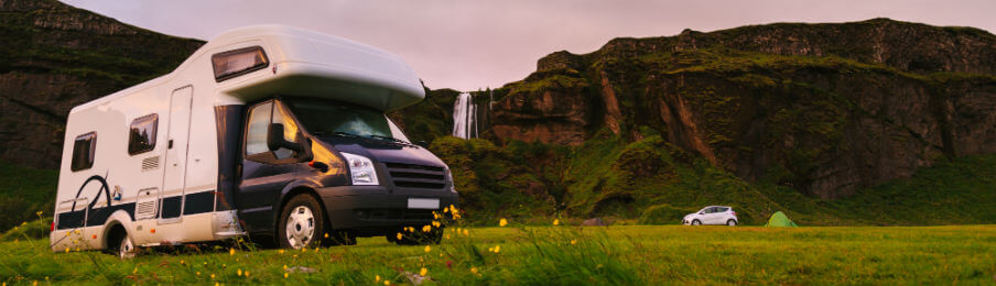 campervan parked in a scenic campsite