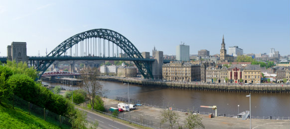 panoramic view of newcastle city including tyne bridge