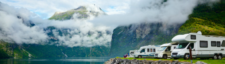 parked rv rentals with scenic view
