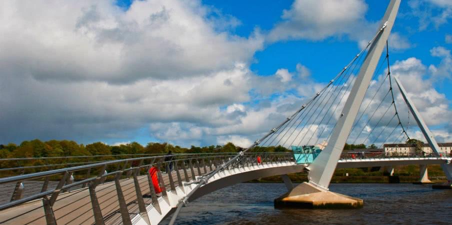 peace bridge across river foyle in derry