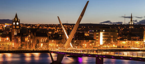 peace bridge in derry, northern ireland