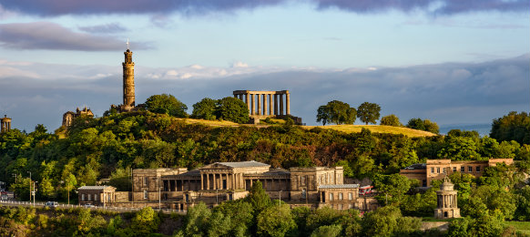 Roman ruins on top of Calton Hill in Edinburgh