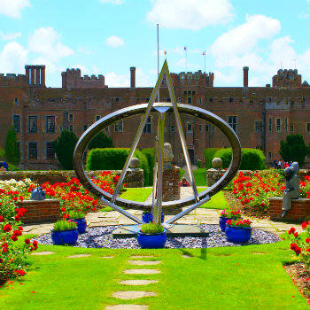 Rose garden of Herstmonceux castle at East Sussex England