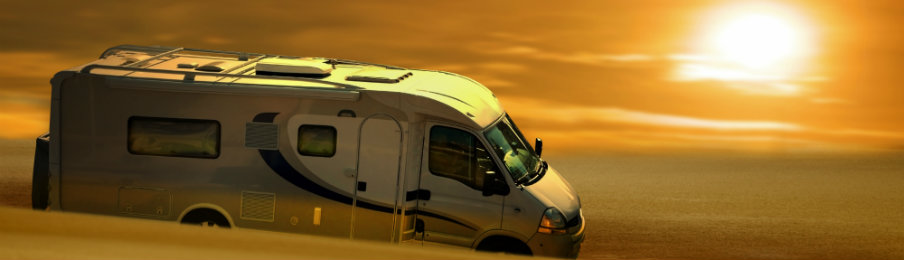 Campervan Hire at sunset in East Midlands Airport