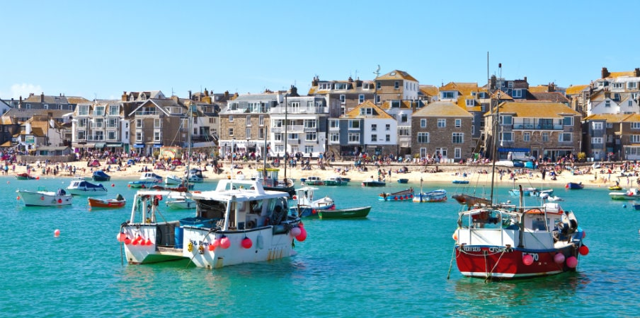 st ives harbour and beach cornwall uk