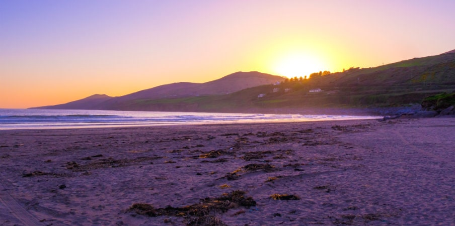 sunset over inch beach on dingle peninsula