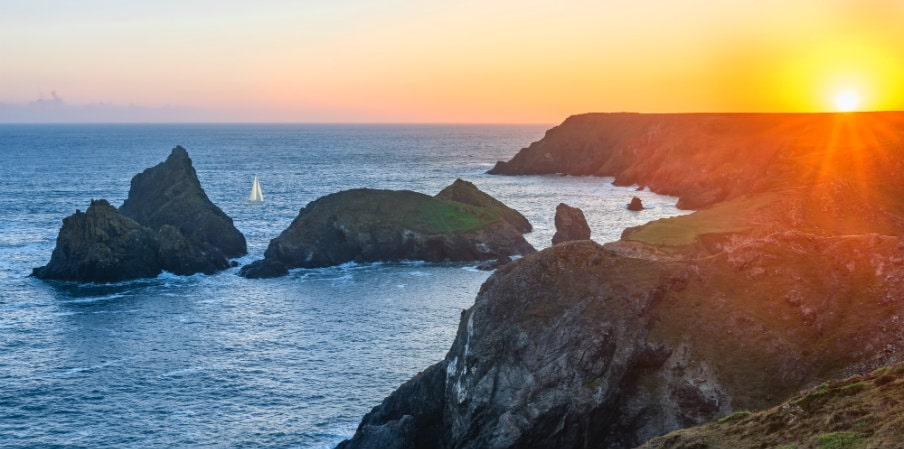 sunset over Lizard Peninsula, UK
