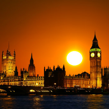 sunset view at the big ben in london