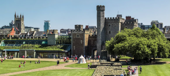 the grounds of Cardiff Castle in Wales