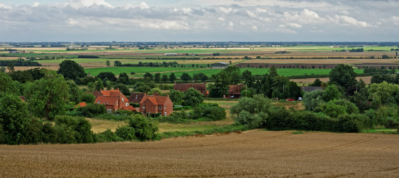 view from the Wolds across the Fens towards Boston, UK