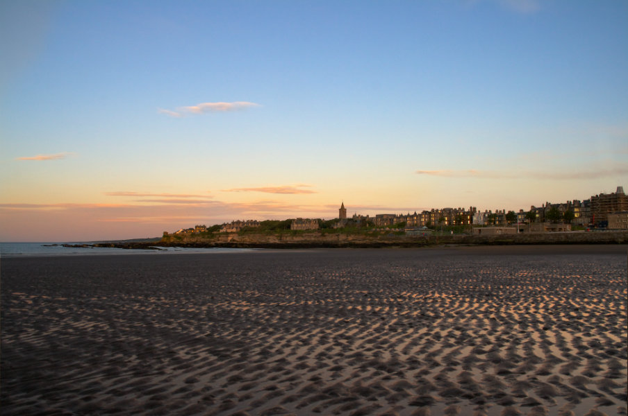 view of st andrews from west sands beach